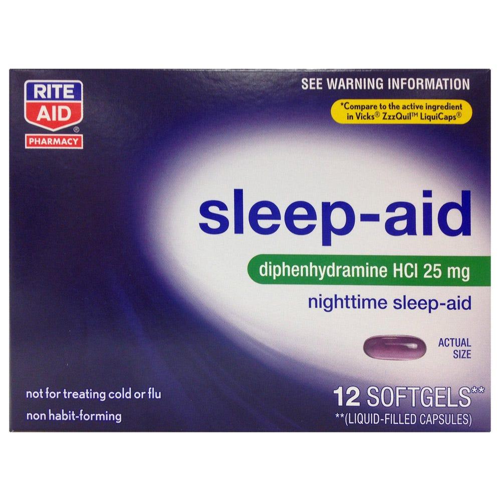 Image of Rite Aid NightTime Sleep-Aid Softgels, 25 mg, 12 Count