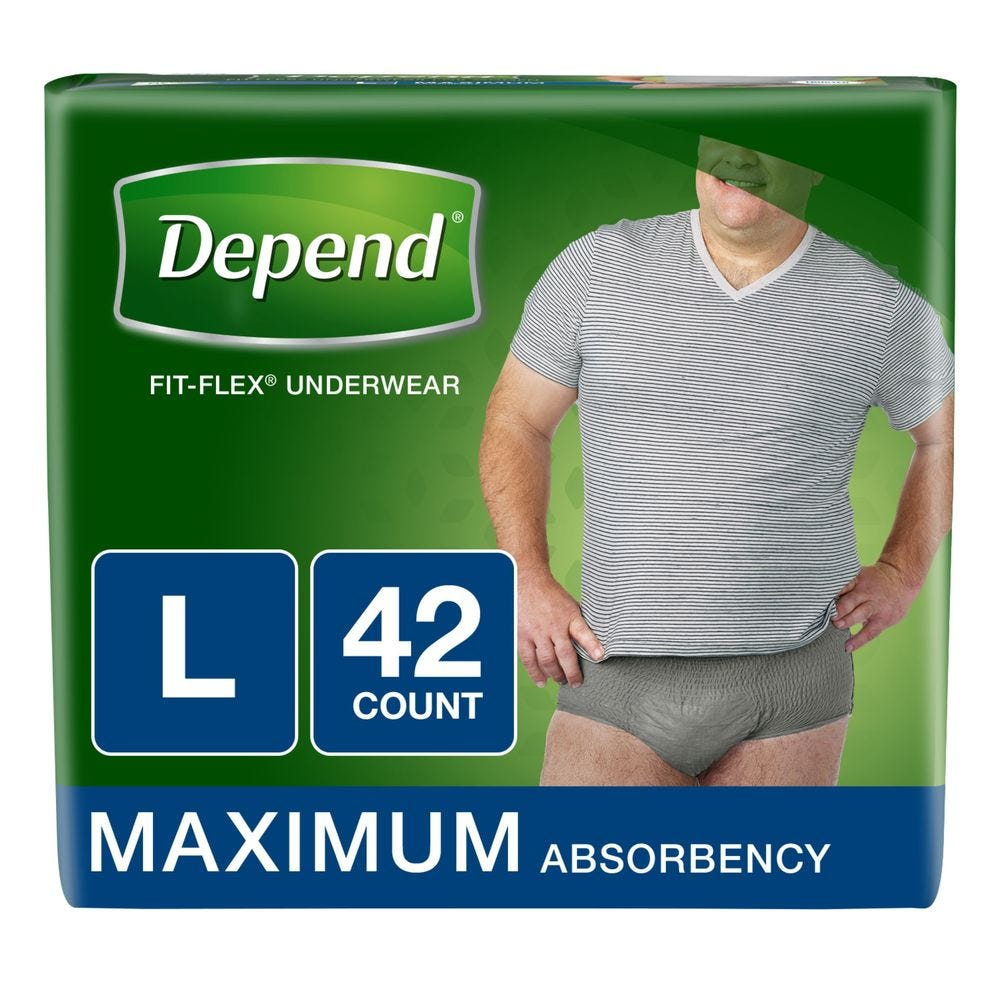 Image of Depend FIT-FLEX Incontinence Underwear for Men, Maximum Absorbency, L, Gray (Packaging may vary), 42 ct.