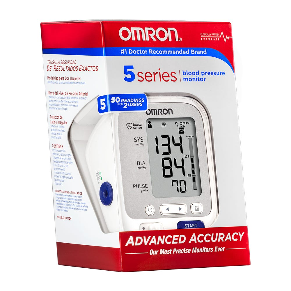 Image of Omron 5 Series Upper Arm Blood Pressure Monitor, Model BP742N, White, 1 Count