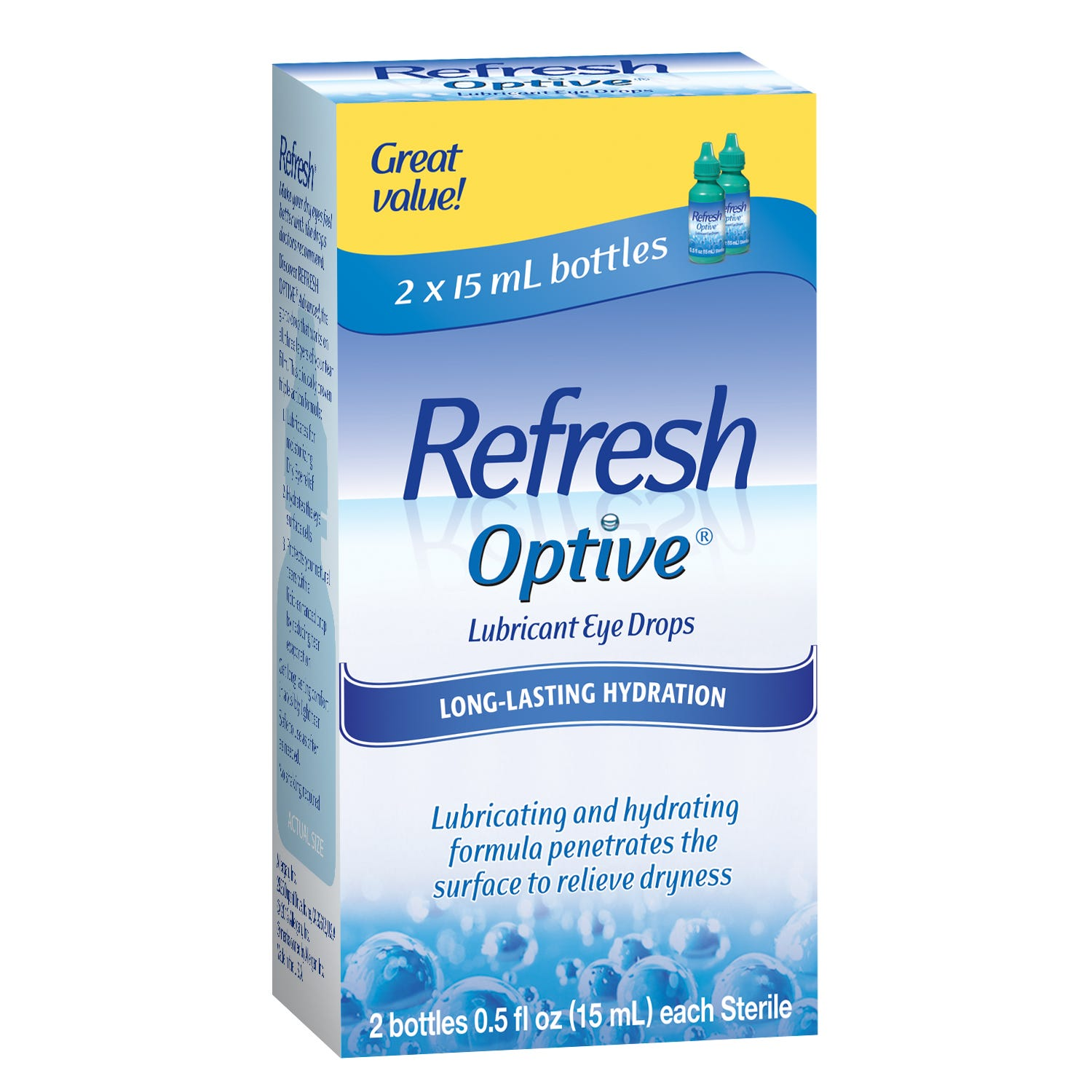 Image of Refresh Optive Eye Drops, Lubricant, 2 - 0.5 fl oz (15 ml) bottles