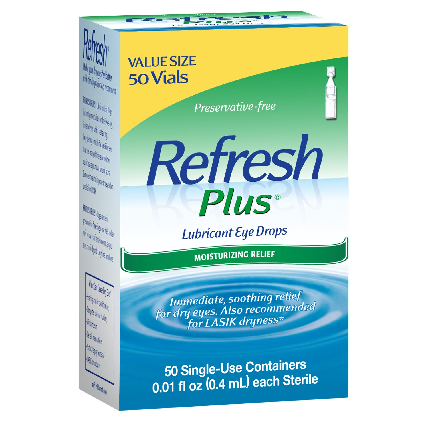 Image of Refresh Plus Lubricant Eye Drops, Sensitive, Single-Use Containers, 50 - 0.01 fl oz (0.4 ml) containers