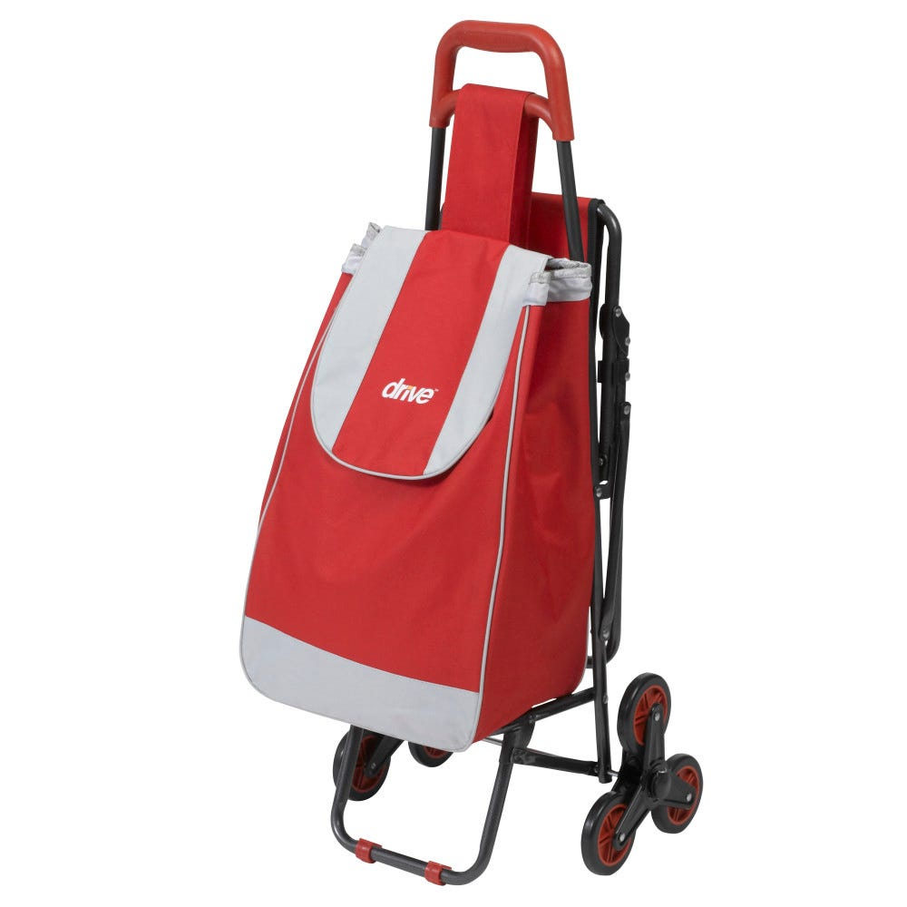 Image of Drive Medical Deluxe Rolling Shopping Cart with Seat, Red