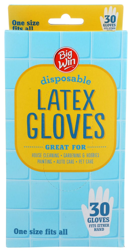 Image of Big Win Disposable Latex Gloves - 30 ct