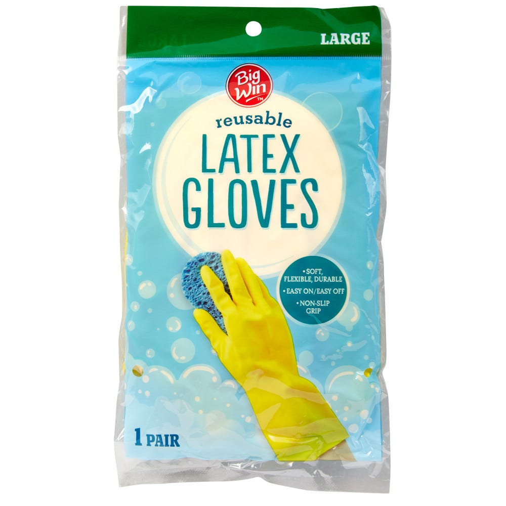 Image of Big Win Latex Gloves Size Large - 1 Pair