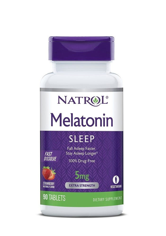 Image of Natrol Melatonin, 5 mg, Fast Dissolve, Strawberry Artificial Flavor, Tablets, 90 tablets