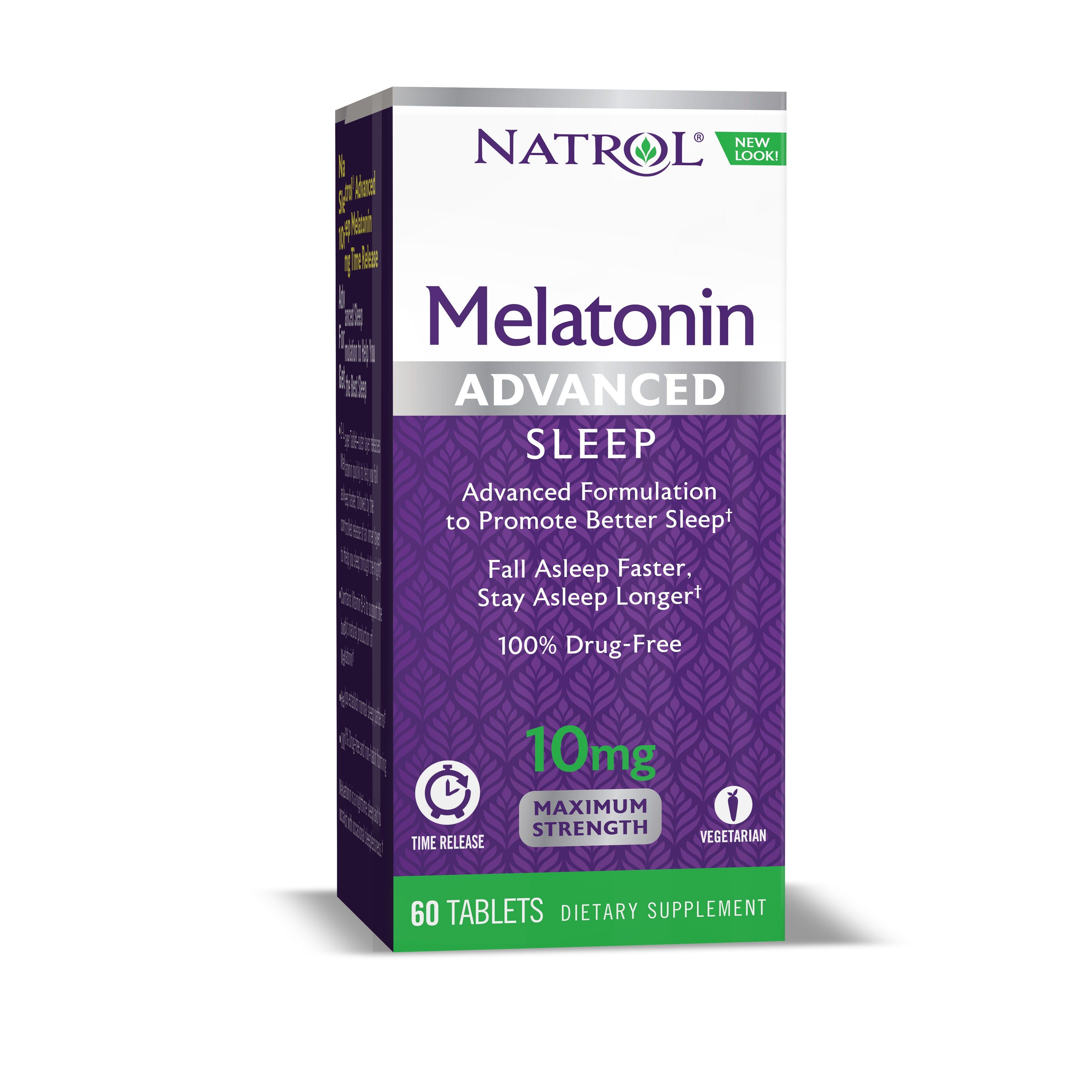 Image of Natrol Melatonin Advanced Sleep Tablets, Maximum Strength, 10mg - 60 ct