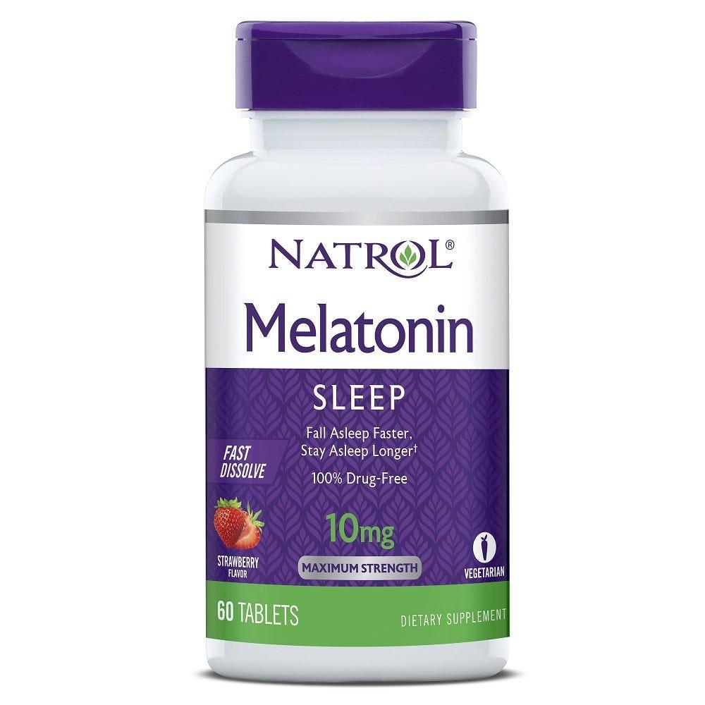 Image of Natrol Melatonin Fast Dissolve Sleep Tablets, Strawberry, 10mg - 60 ct