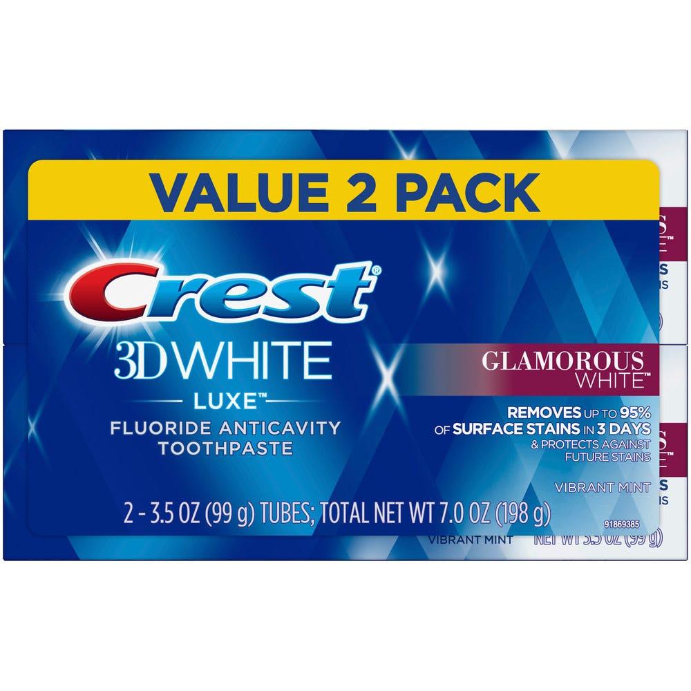 Image of Crest 3D White Luxe Glamorous White Toothpaste, 3.5 oz - 2 pk
