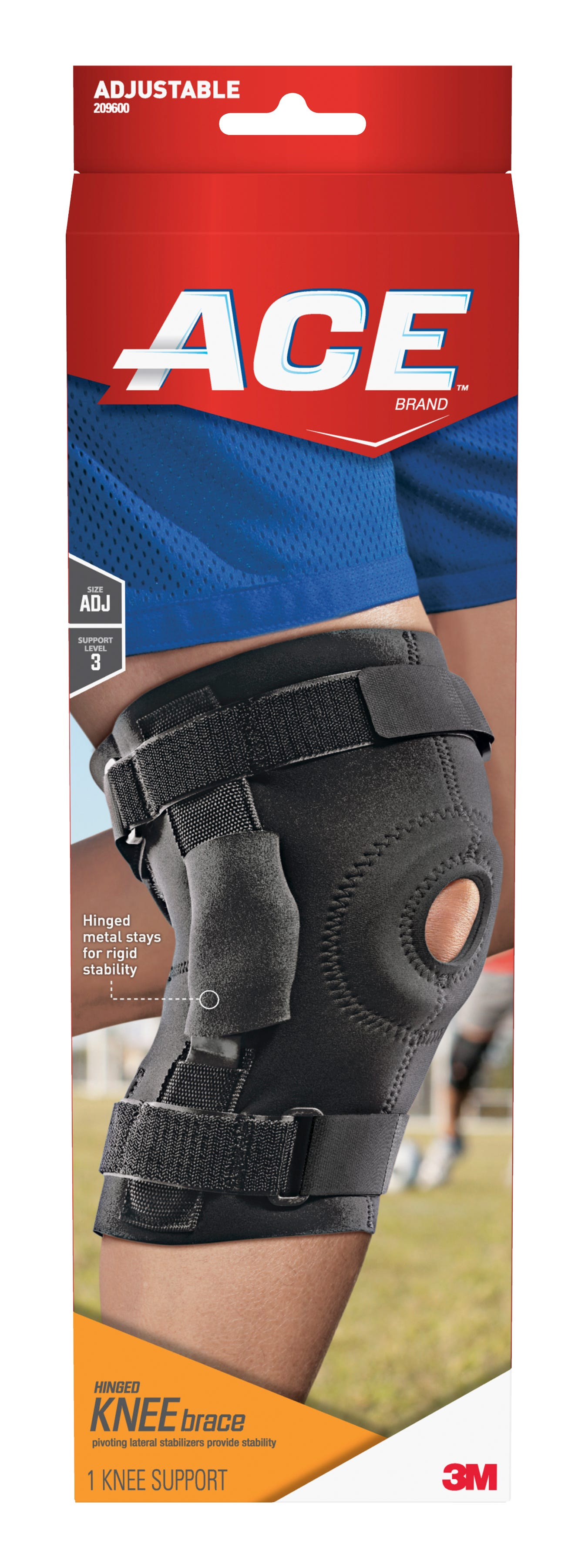 Image of ACE Knee Hinged Brace, Firm Support, One Size Fits Most