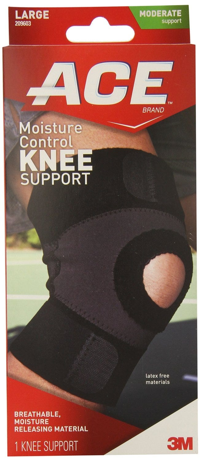 Image of ACE Knee Support, Moisture Control, Moderate Support, Large