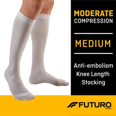 Futuro Stockings Closed Toe Knee Length Moderate Compression White Medium 1 Pair Rite Aid
