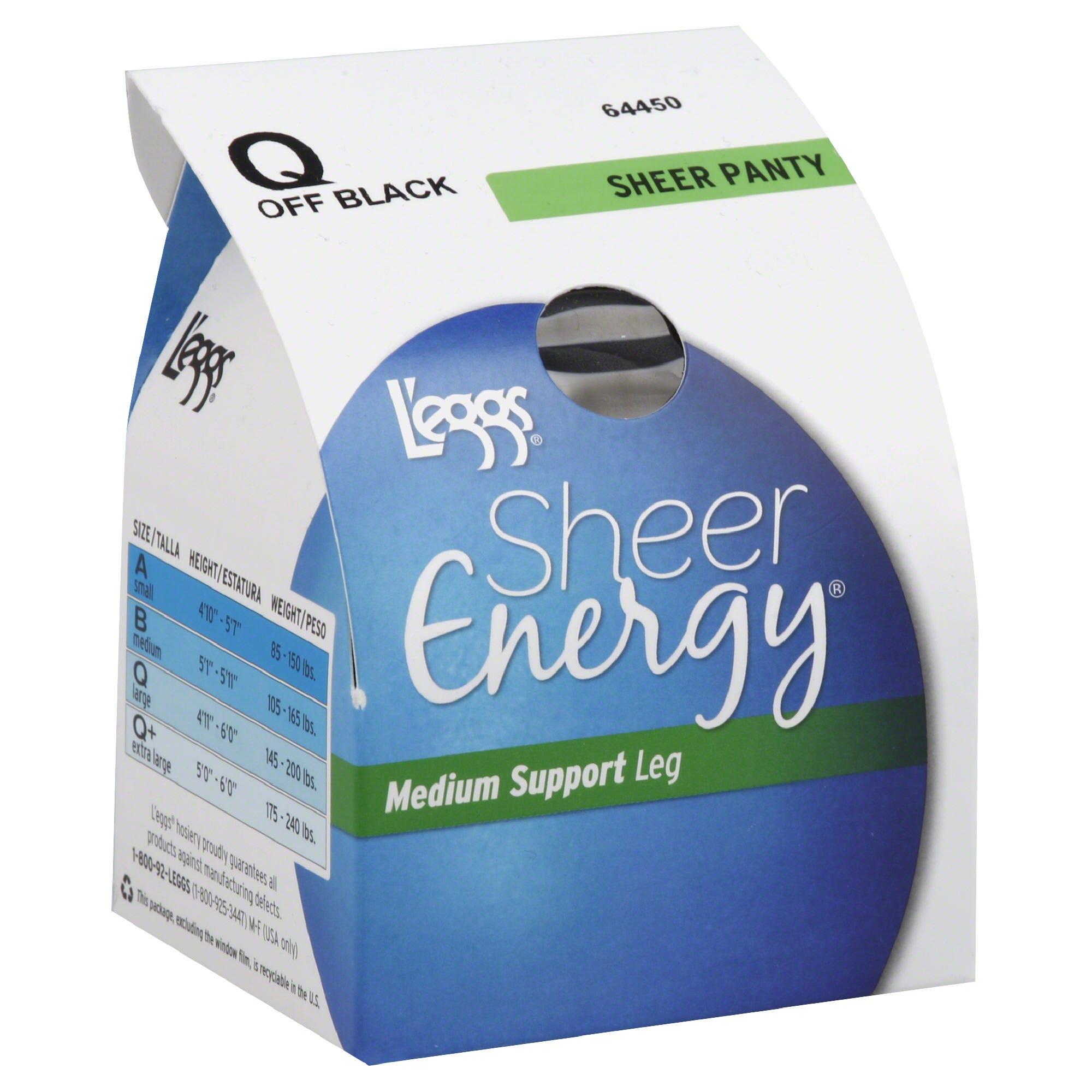 Leggs 4 Pair Size Q Sheer Energy Pantyhose Sheer Toe Off Black
