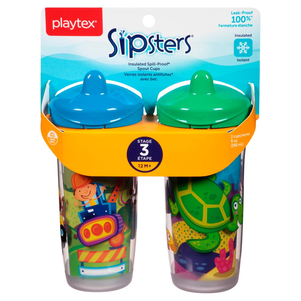 Image of Playtex Sipsters Stage 3 Insulated Spout Sippy Cup 9oz 2-Pack Assorted Patterns