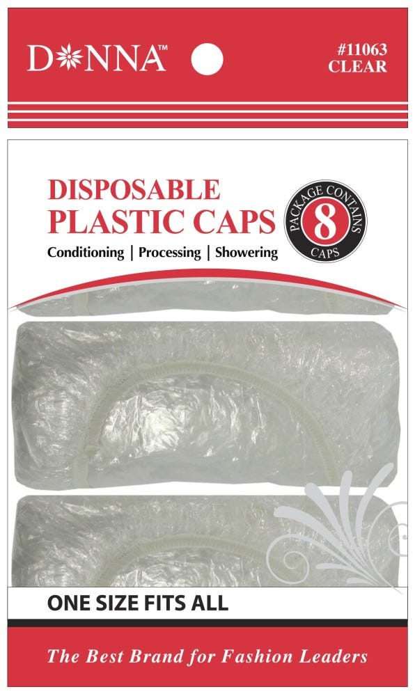 Image of Donna Disposable Plastic Caps - 8 ct