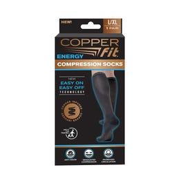 Copper Fit Compression Socks, L/XL, Black - 1 ct