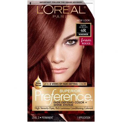 L\'Oreal Paris Superior Preference Permanent Haircolor, Warmer, Dark Auburn  4R