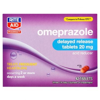 Rite Aid Omeprazole Capsules 20 Mg Delayed Release Tablets 42 Ct