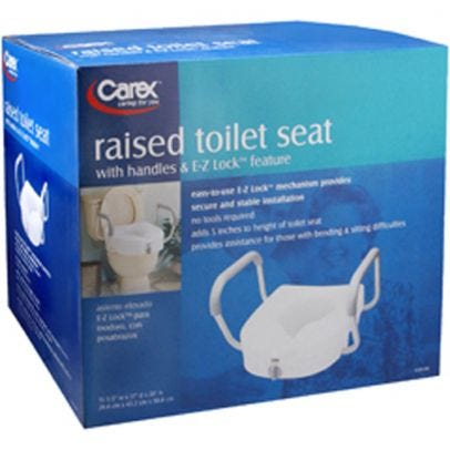 Carex E Z Lock Raised Toilet Seat With Armrests Rite Aid