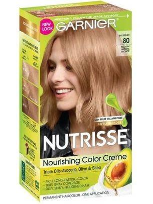 Garnier Nutrisse Nourishing Hair Color Creme, Permanent, Medium Natural  Blonde 80
