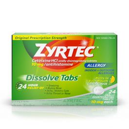Zyrtec 24 Hour Allergy Dissolve Tablets 10 Mg Citrus 24