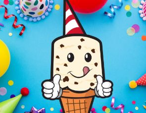 Thrifty ice cream man celebrating his 80th birthday